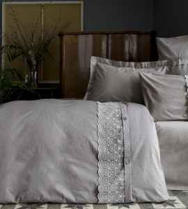 Yarn Dyed Duvet Cover Set With Lace